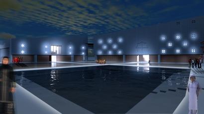 nachtbeeld waterplein/binnenhof